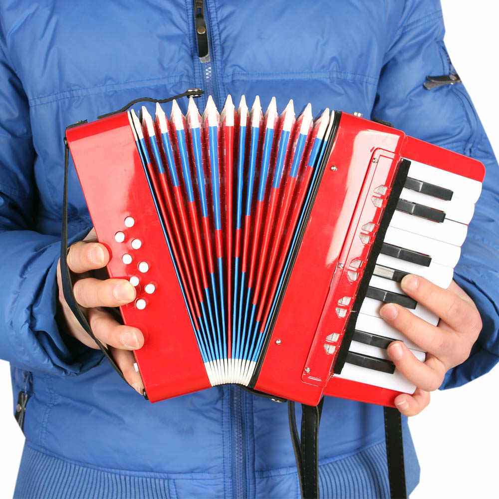 Kids Children 17-Key 8 Bass Mini Small Accordion Educational Musical Instrument Rhythm Band Toy Musical Instrument
