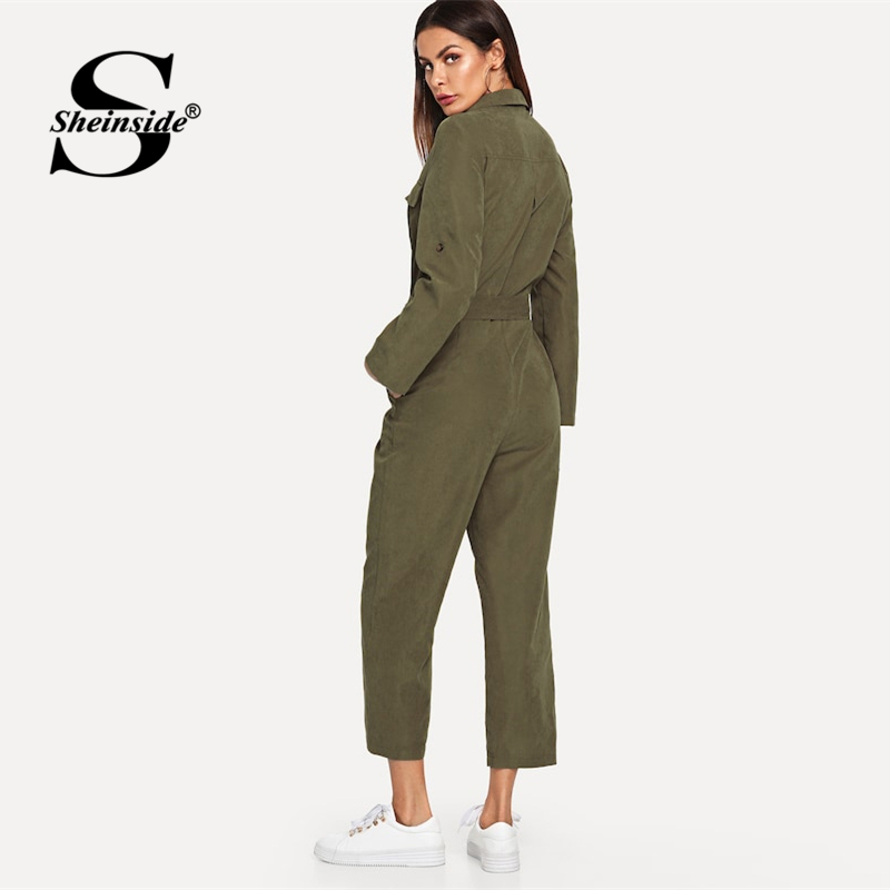 Sheinside Army Green Casual Button Shirt Jumpsuit Women 2019 Roll Up Sleeve Tapered Jumpsuits Mid Waist Belted Tooling Jumpsuit