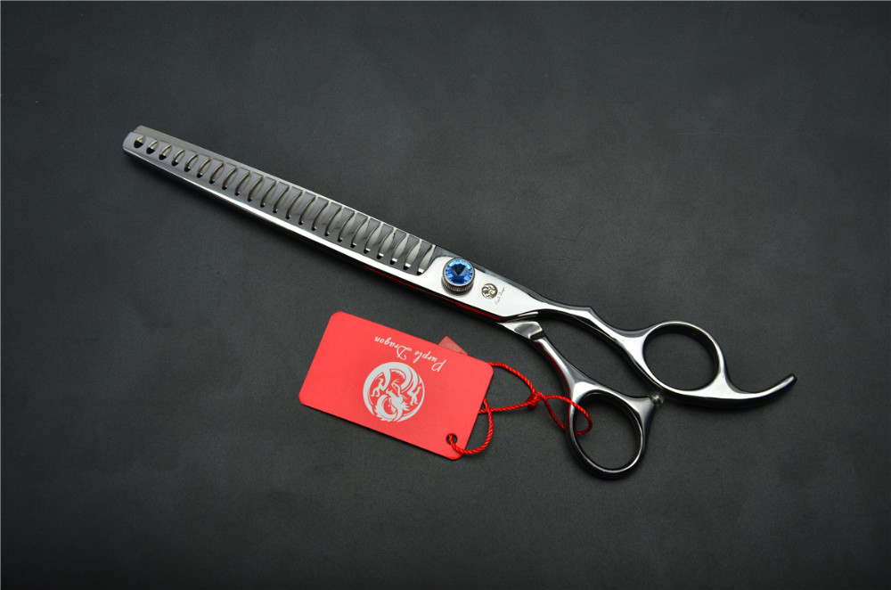 8.0'' 22.5cm Purple Dragon Professional Dogs Cats Pets Hair Shears Hairdressing Scissors 23 Teeth Fishbone Thinning Shears Z4004 4