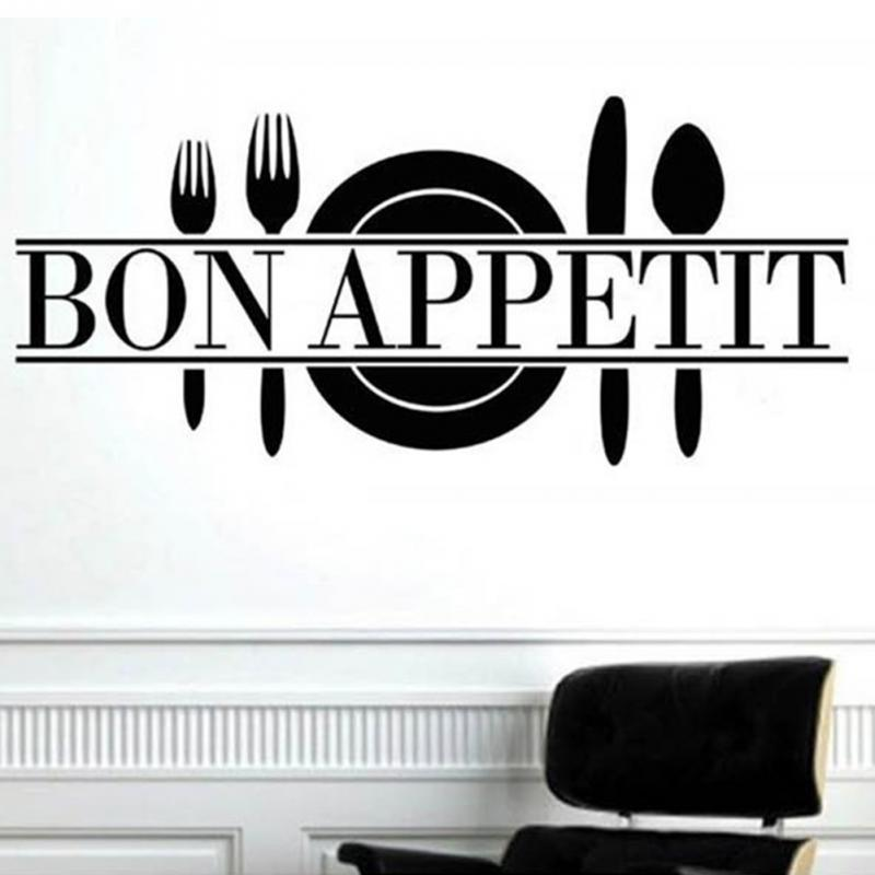 Cheap Price Kitchen Stickers Bon Appetit Art Quote Living Room Kitchen  Vinyl Wall Mural Decal Sticker Free Shipping
