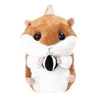 Cute Chipmunk Hamster Pulsh Backpack Leisure Animal Pattern Shoulder Bag Soft Stuffed Toy Bag For Girls