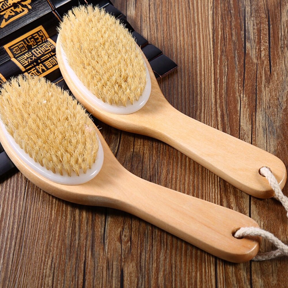Dry Skin Exfoliation Brush Body Natural Bristle Wooden Brush Massager Bath Shower Back Spa Scrubber
