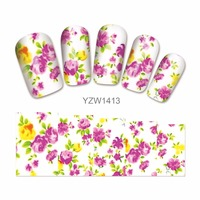 ZKO 1 Sheet DIY Decals Flower Nails Art Water Transfer Printing Stickers Accessories For Girl Nails 1413