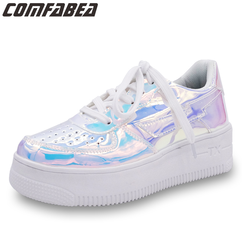 Femmes Casual Chaussures Printemps Automne 2018 Nouvelle Arrivée Rose Blanc Sneakers Creepers Mode Dames Appartements Chaussures Harajuku Confortable