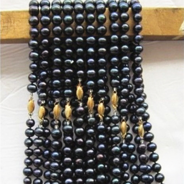 """Wholesale 10 strands natural black 8-9mm pearl round beads necklace for women party gifts weddings high grade jewelry 18"""" MY4594"""