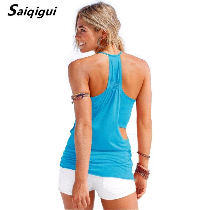 Saiqigui Top Women Camisole Summer Style Sexy Sleeveless Vest Slim Solid beach Women Camis Roupas Femininas