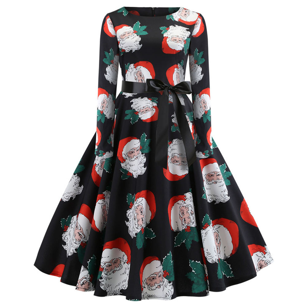 Vintage Women s Vintage elegant Dresses Female Print Long Sleeve Christmas  Evening Party Swing Dress clothes vestidos 3df1d17195d8