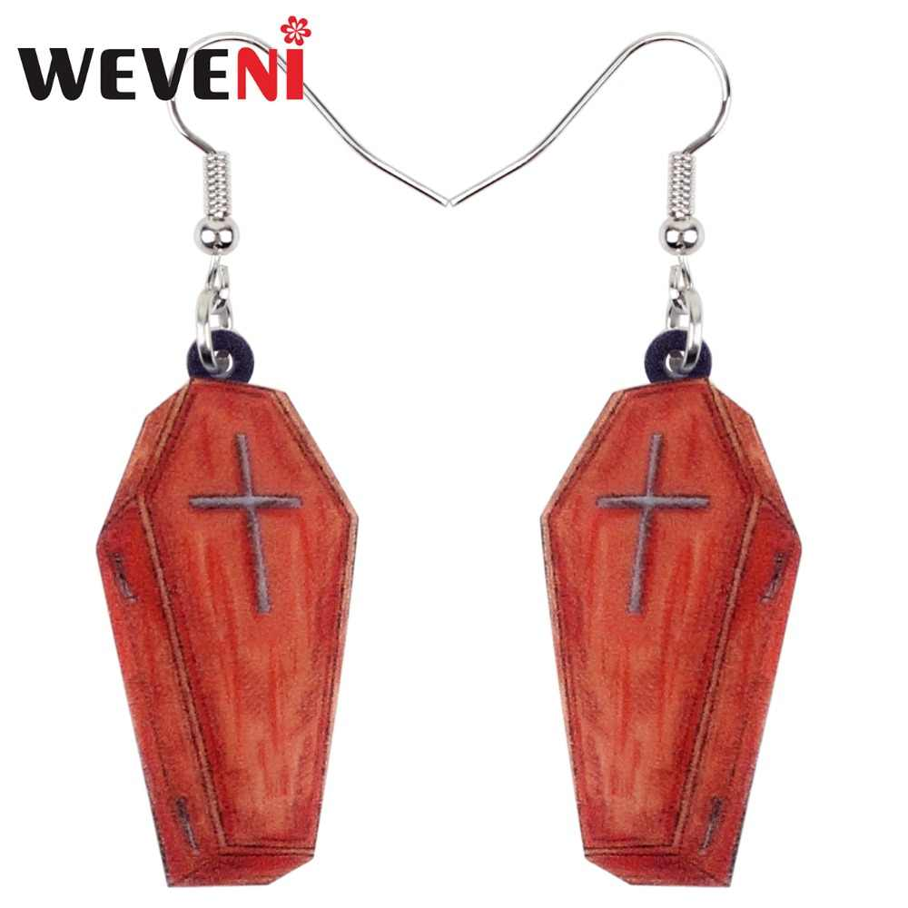 WEVENI Acrylic Halloween Fashion Coffin Casket Earrings Drop Dangle New Long Fashion Punk Jewelry For Women Girls Party Dropship
