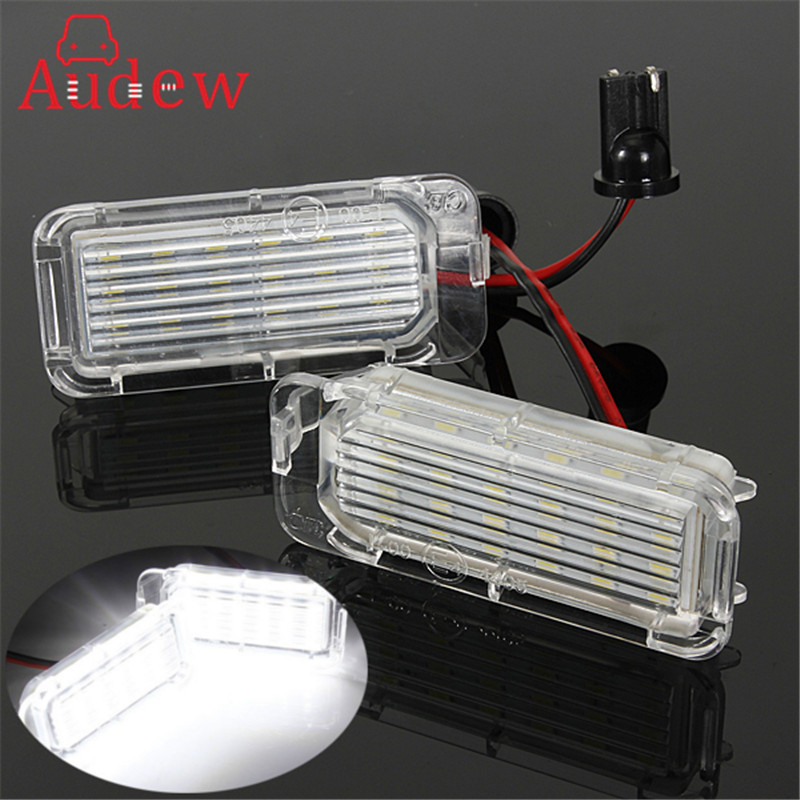 2Pcs 12V LED License Plate Light Number Plate Bulbs Lamp For Ford/Fiesta/Focus/Kuga/C-MAX/Mondeo/Galaxy/Grand Car Light 2pcs car led license number plate light lamp 6w 12v 24 led white light for ford focus 2 c max