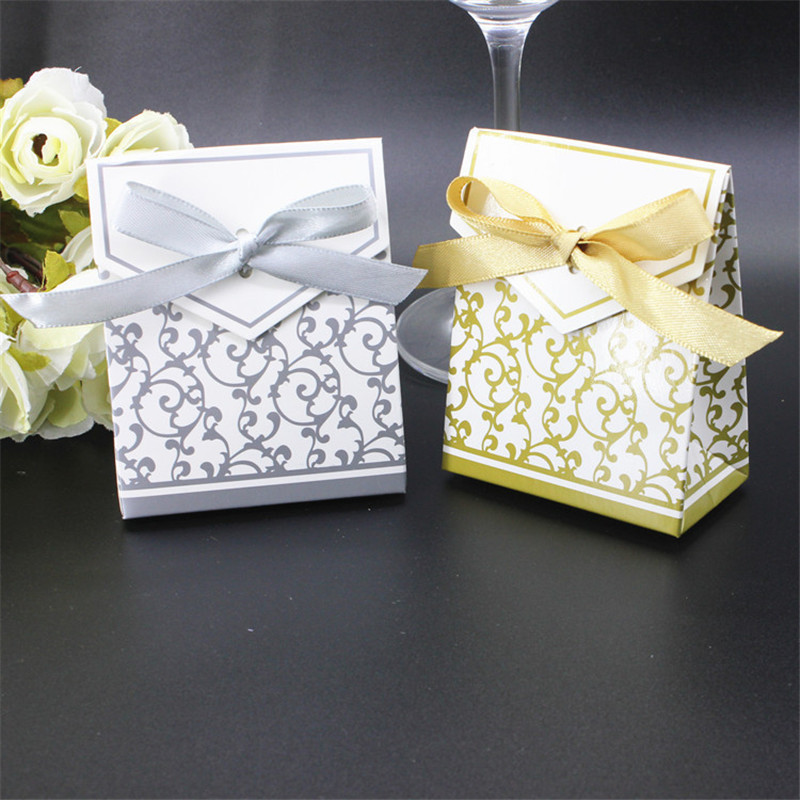 100pcs Favor Sweet Cake Gift Candy Boxes Bags Anniversary Party Wedding Favours Birthday Party Supply P20