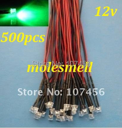 Free Shipping 500pcs 5mm Flat Top Green LED Lamp Light Set Pre-Wired 5mm 12V DC Wired 5mm 12v Big/wide Angle Green Led