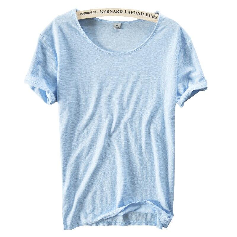 Hot 2017 summer linen t shirt men short sleeve o neck for Mens short sleeve linen dress shirts