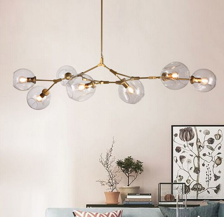 Gold/black Magic Bean Led Pendant Lights For Dinning Vintage Loft Industrial Glass Ball Hanging Light Retro Glass Pendant Lamp Ceiling Lights & Fans Chandeliers