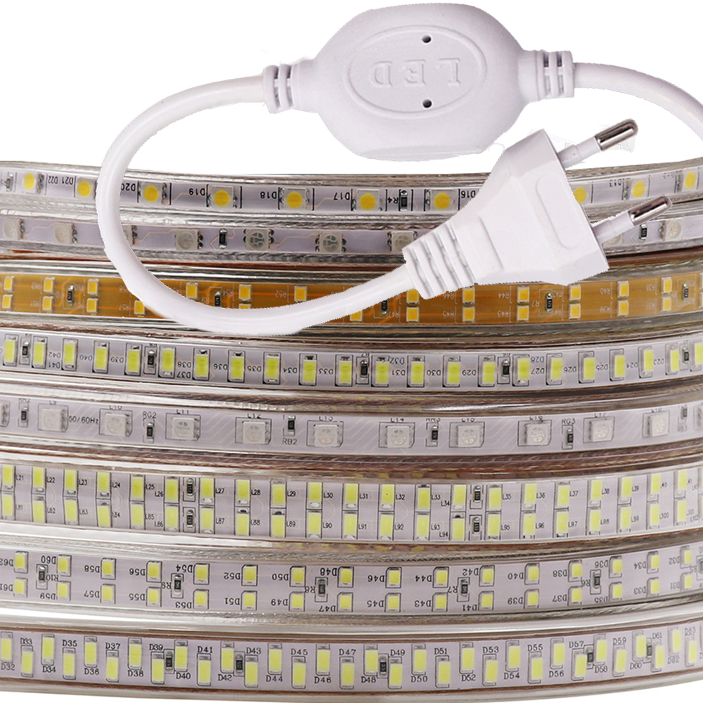 220V LED Strip Light 5730 2835 5050 240LED 180LED 60LED Waterproof LED Tape Ribbon Light RGB/White/Warm White Home Decoration image