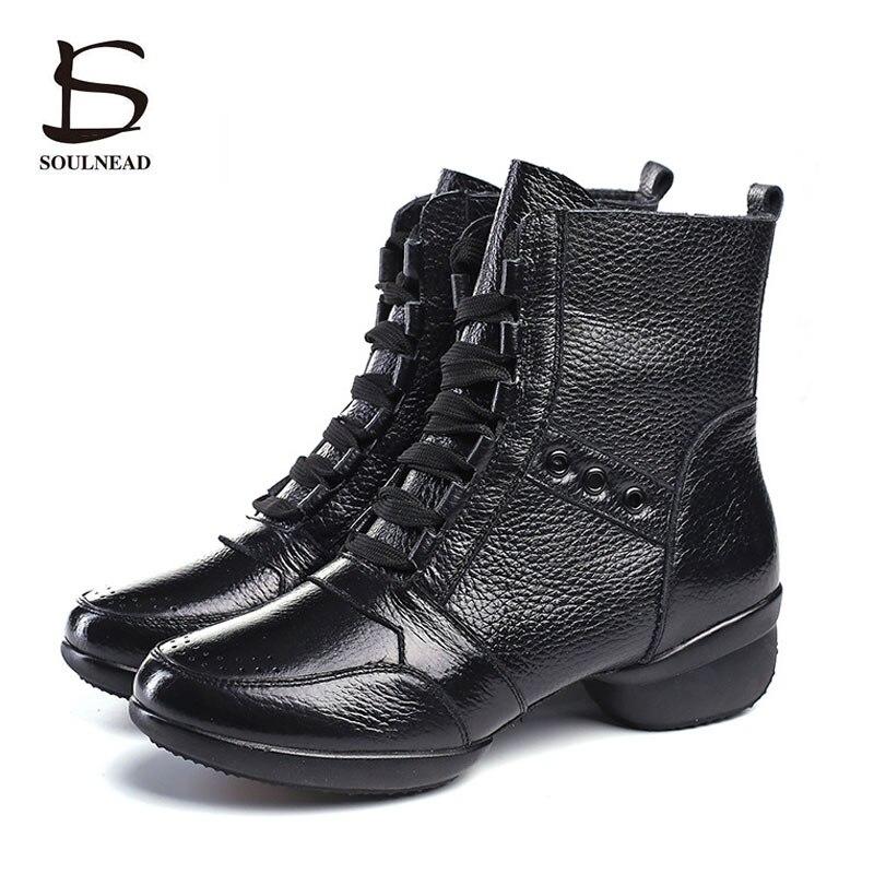 Chaussures de danse en cuir de vachette pour femmes bottes de haute qualité pour femmes