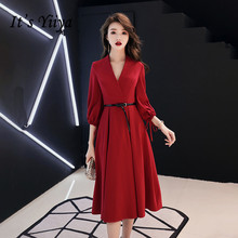 It's YiiYa Evening Dress Wine Red Vintage V-neck Tea Length Formal Dresses Half Sleeve A-line Simple Design Party Gown E019 v neck half sleeve tea length dress