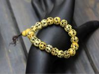 Originally created national style jewelry Nepal hollow Ox Bone Bracelet lady beads retro DIY wax rope braided jewelry