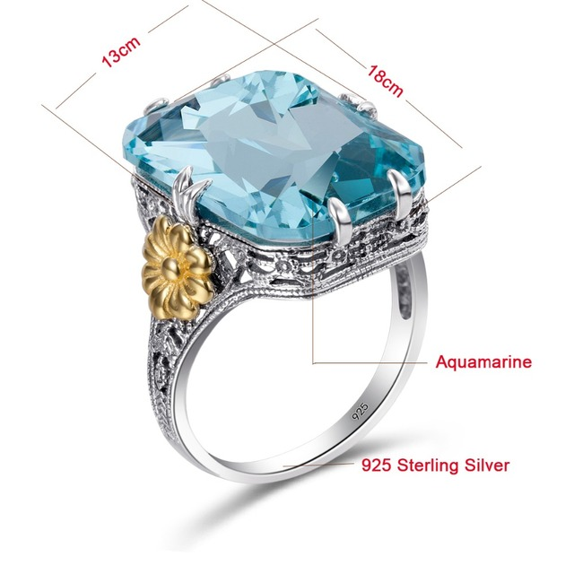 Fashion 925 Sterling Silver Rings Gold Color Flower Sky Blue Crystal Engagement Ring For Women Wedding Jewelry Birthstone Rings