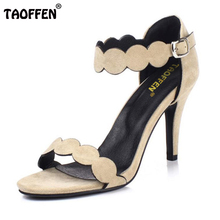 TAOFFEN Sexy Ladies High Heel Sandals Women Ankel Strap Solid Color Thin Heels Sandal Party Club Beach Wedding Shoes  Size 33-44