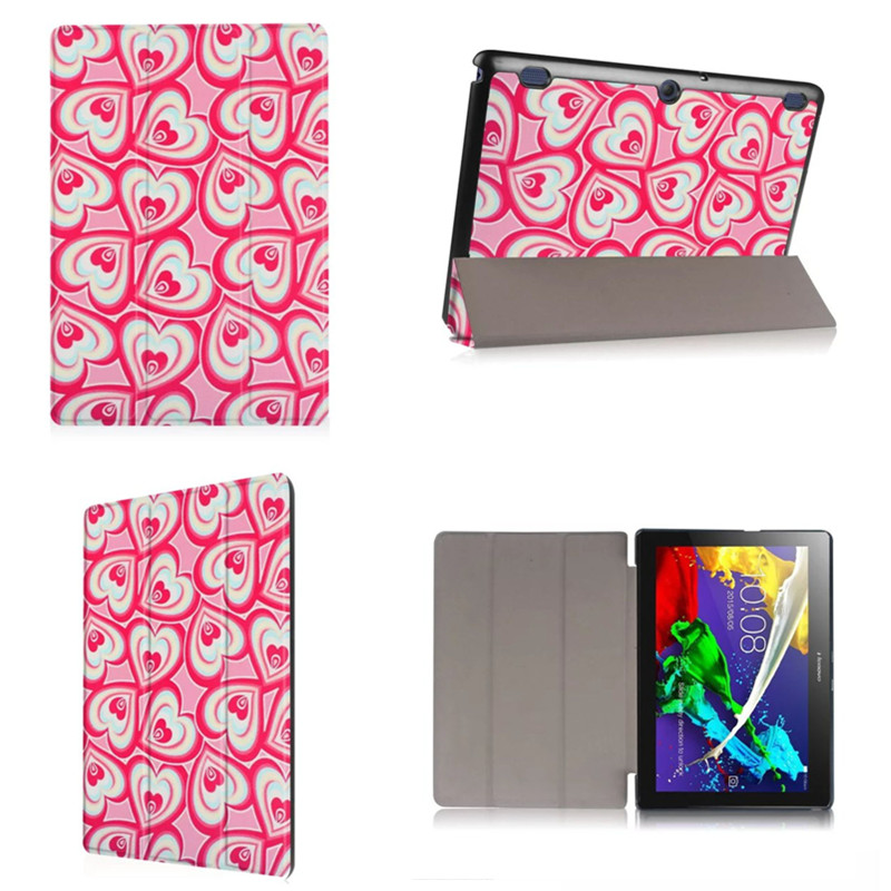 WY4 Folio Stand PU leather Case For Tab2 A10-30F PU Leather Cute Cartoon cover funda for lenovo tab 2 a10-30 X30F 10.1 tablet