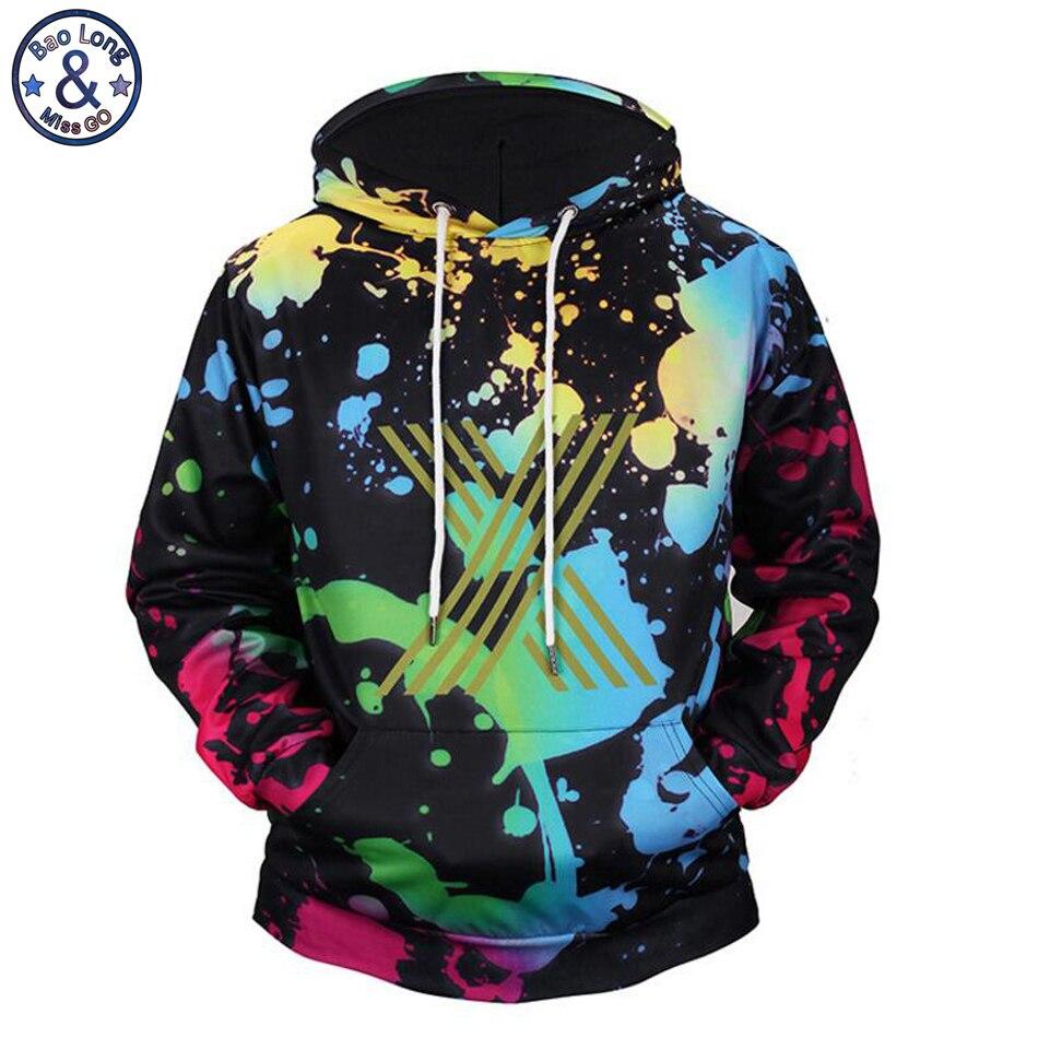 Mr. baolong nuevo llega divertido diseño Splash tinta 3D impreso hooded hoodies hombres cordón Sudadera con capucha H138