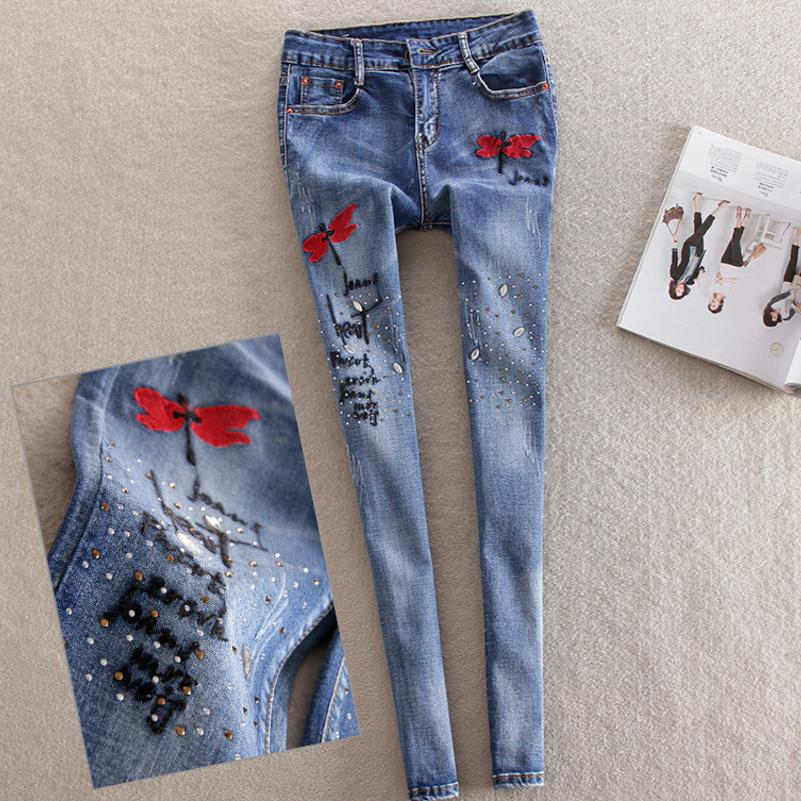 Embroidery new diamond sequined   jeans   feet   jeans   woman