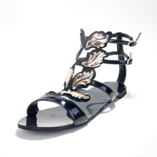 Gladiator Casual Charm Patent Leather Women's Stiletto Heel Sandals Shoes chaussure femme Cover Heel Solid Women Shoes 2015