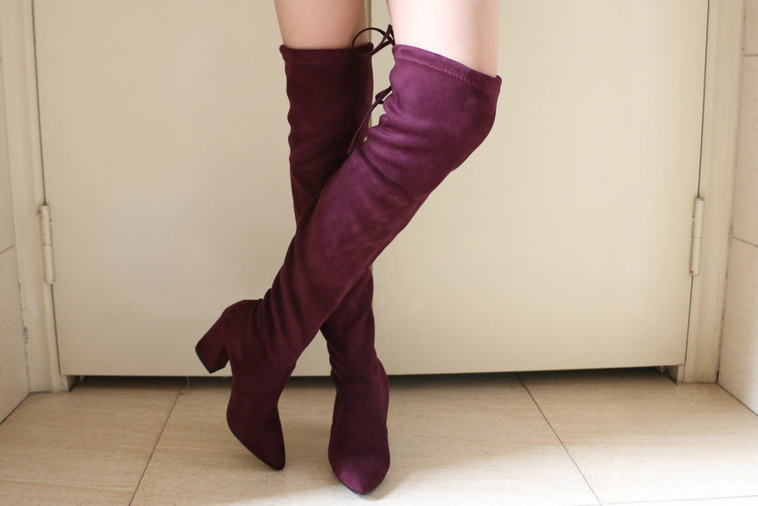 Flock Leather Over The Knee Boots Lace Up Sexy High Heels Autumn Winter Women Shoes 42