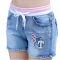 2016 Summer Elastic Waist Denim Shorts For Women Short Jeans Female Solid Blue Stretch Trouser Pants Drawstring