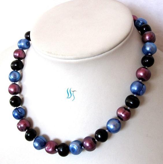 Collier de perles ras du cou 16 pouces 10-11mm Multi couleur collier de perles d'eau douce cadeau de fête de mariage pour fille