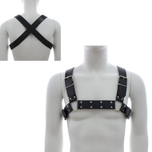 Men Bondage Harness Adjustable Buckle PU Leather Gay Male Adult Game Back Body Chastity Belt Chest Costume Cosplay Club Tank Top