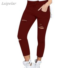Laipelar Skinny Pants Women Sexy Hole Knee Pencil Pant Lady High Waist Legging Slim Trousers Stretch Ripped Jeans Plus Size 4XL