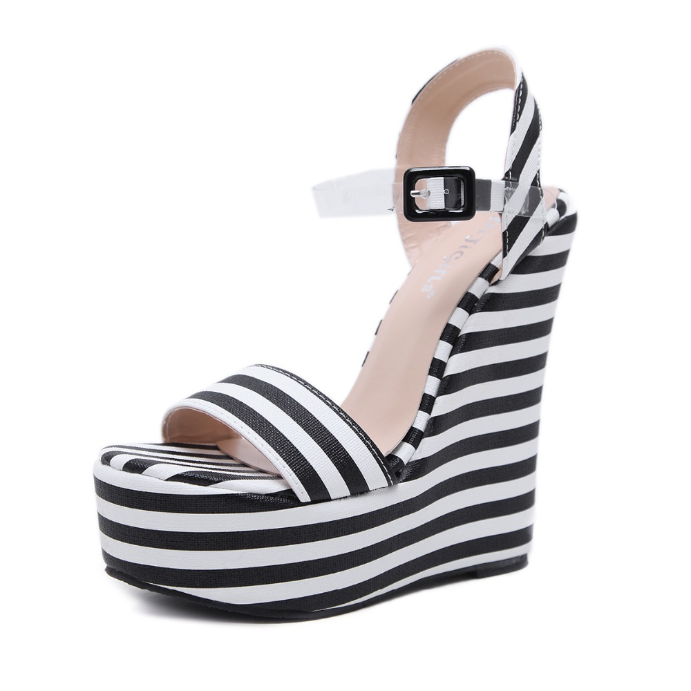Fashion women pumps sexy platform wedge high heels Wedges sandals high heel platform women sandals striped sandals female anmairon shallow leisure striped sandals women flats shoes new big size34 43 pu free shipping fashion hot sale platform sandals