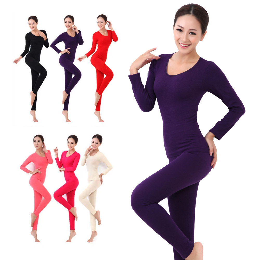 2016 New Women s Winter Thermal Underwears Fashion Seamless Breathable Warm  Long Johns Ladies Slim Underwears Sets Free Shipping-in Long Johns from  Women s ... 532cffe680e4
