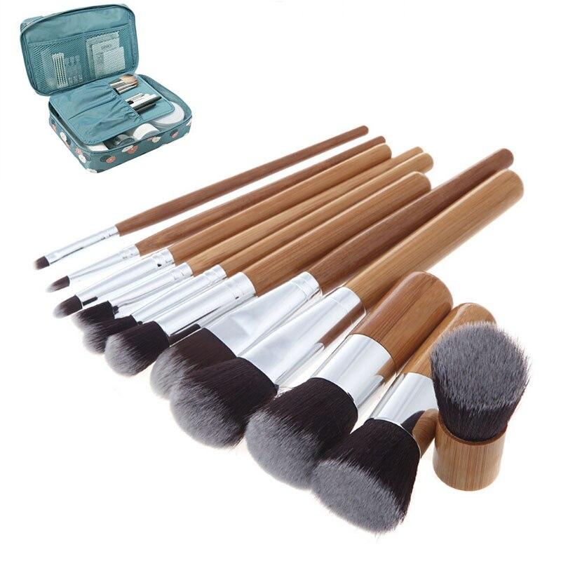 11pcs Natural Bamboo Makeup Brushes Kit with Bag Professional Cosmetics Blusher Eyeliner Brush Kabuki Foundation Blending Tool