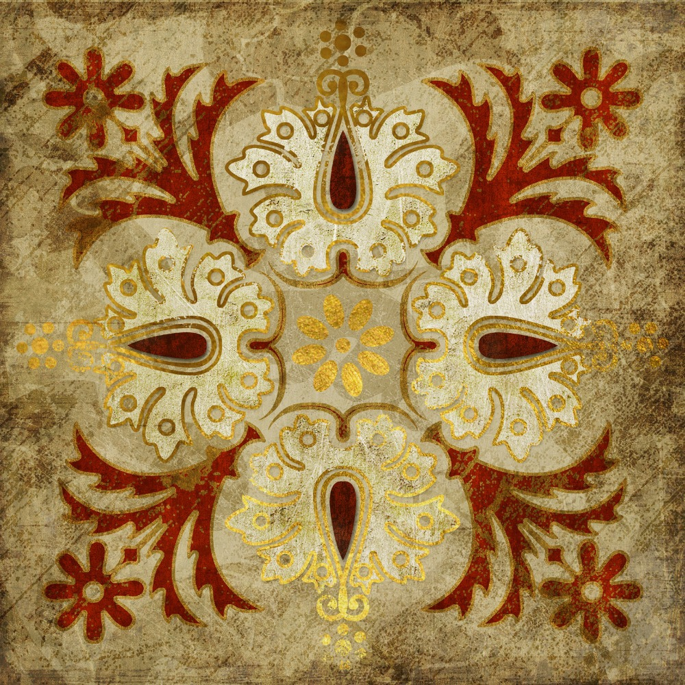 2015 India gold retro ethnic patterns canvas wall art home ...
