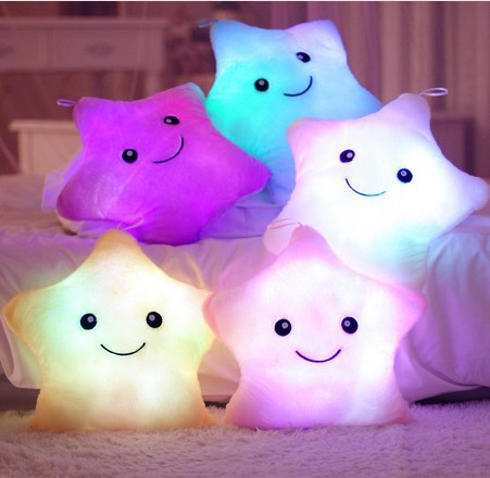 Hot Luminous Pillow Star Cushion Colorful Glowing Pillow Plush Doll Toys Gift For Girl Kids Christmas Plush Light Toys image