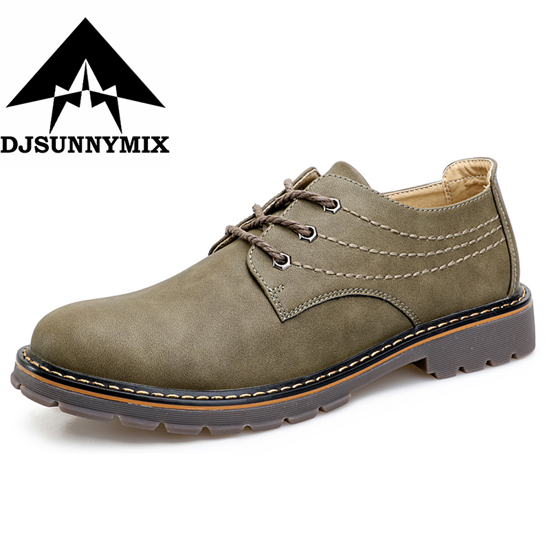DJSUNNYMIX Men Casual Shoes 2018 New Fashion Comfortable Flat Men Oxford Shoes Lace-up Solid spring autumn Men Shoes N1032
