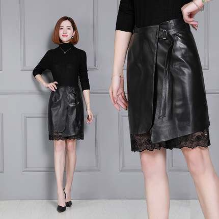 2018 New Fashion Genuine Sheep Leather Skirt K41