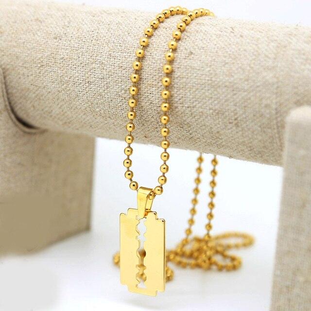 Men gold color tone razor blade pendant necklace w3mm 275inch ball men gold color tone razor blade pendant necklace w3mm 275inch ball beads chain altavistaventures Image collections