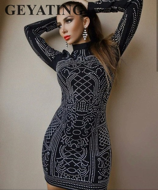 Sexy Short Black Cocktail Dresses with Long Sleeves High Neck Rhinestone Crystal Bodycon Tight Straight Mini Party Club Dress