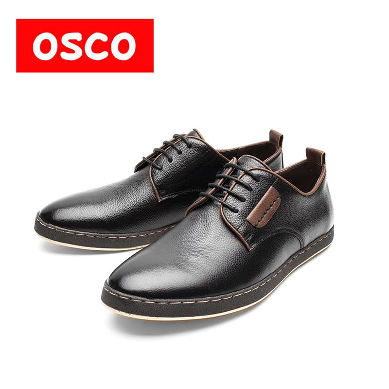 OSCO shoes fashion trend Korean British men shoes Spring autumn summer genuine leather breathable flat business casual shoes men
