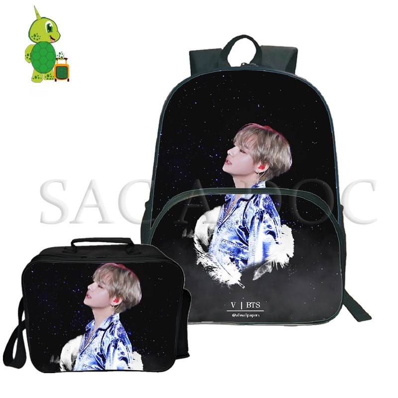 Imported From Abroad Bts Love Yourself Backpack 2pcs/sets Laptop Backpack For Teenagers Boys Girls V/jung Kook Travel Rucksack With Cooler Bag Handsome Appearance Luggage & Bags