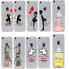 cute Mickey kiss bbf best friends lover Hard Transparent Case Cover for iPhone 4 4s 5 5s SE 6 6s & 6 Plus 7 7 Plus