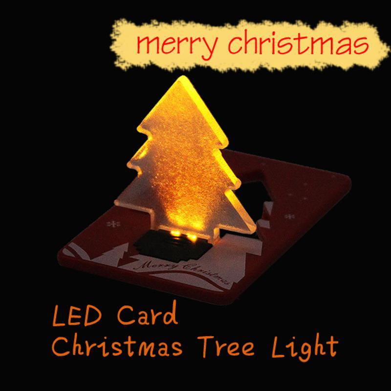Christmas Decoration Pocket Folding Xmas Tree Shape LED Light Credit Christmas Card Christmas Gift Decoration christmas snowman hanging gift sock xmas tree party decor