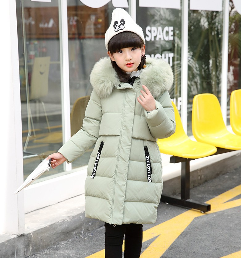 New 2017 girl jacket fur hooded long coat kids big girl thick 10year black overcoat outwear solid classic clohing girl garmet steel d big girl