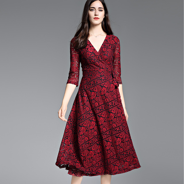 Neue 2017 herbst winter fashion damen sexy rote spitze kleid vintage ...