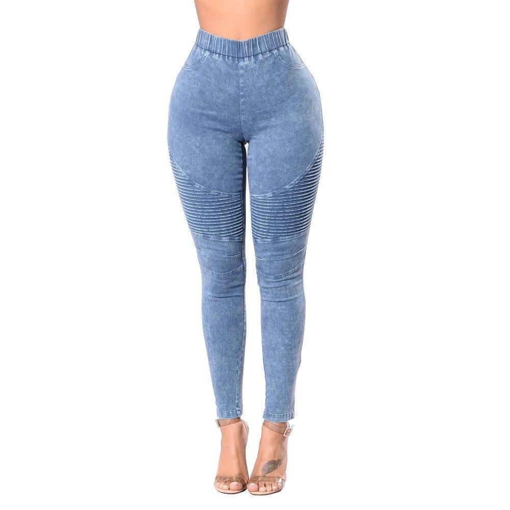2018 New Women Rubber Elastic Waistband High Waist Jeans