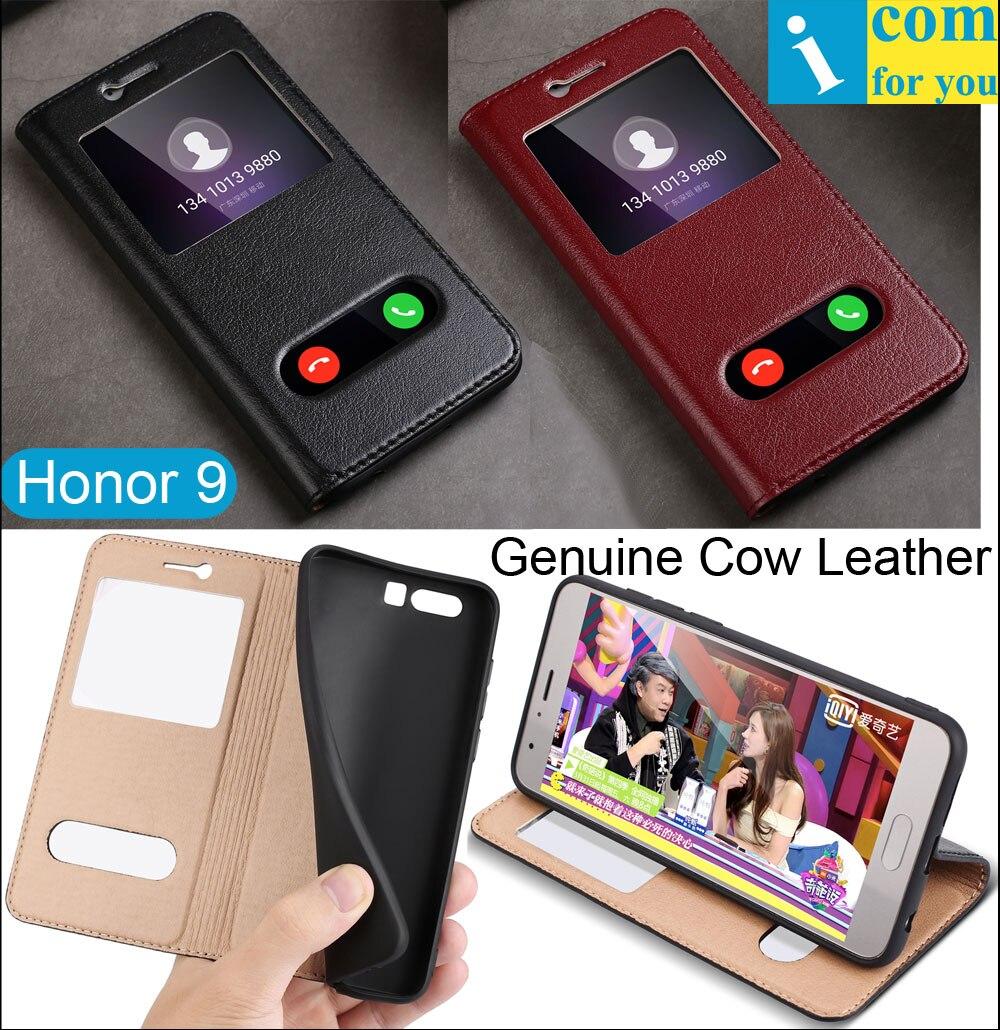 bilder für Echte Reale natürliche Kuh Leder Flip Abdeckung Fall Für Huawei Honor 9 Deluxe Luxus Buch Fenster zu beantworten Coque