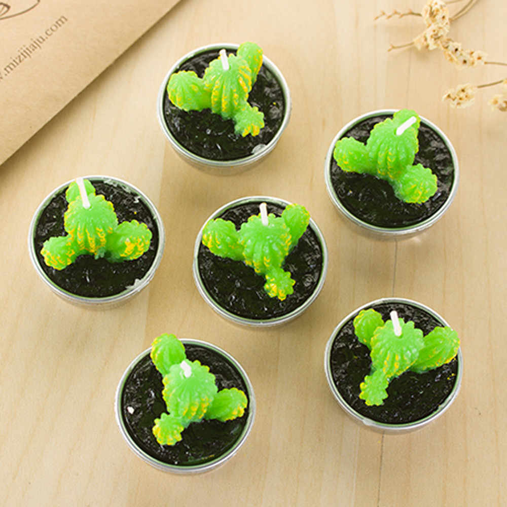 Non-spilling Cactus Candles for Home Decoration 6 Pcs Creative  Decoration Candle Home Decor Gift Unscented Candles La Vela #X